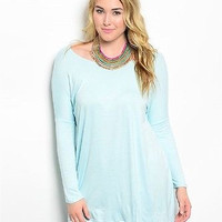 Plus Size Lt Blue Every Day Long Sleeve Longer, Roomy Tunic Top Size XL