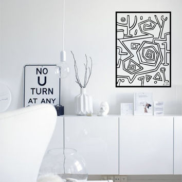 "Wall Art inspired by Paul Klee ""Heroic Roses"" vinyl wall decal - removable sticker art decor ideal for living room decor"