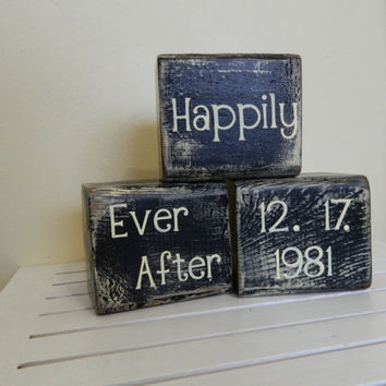 Wedding block decoration or gift for wedding by FayesAttic11