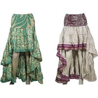 Mogul Womens 2pc Hi Low Skirt Recycled Vintage Sari Gypsy Fashion Long Skirt Ruffle Flirty Flare Summer Skirts S/M - Walmart.com