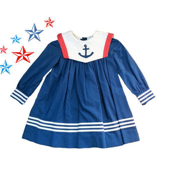Vintage Toddler Girl Sailor Dress 4 4t /  anchor nautical girls boat sea captain ocean 4 her majesty Japan anime cotton polyester costume