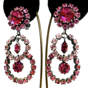 Stunning Fushia Austrian Crystal earrings. Long pink dangle clips.