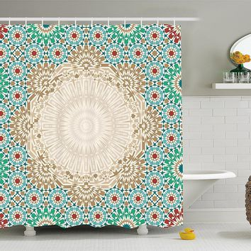 Bohemian Morrocan Tile Shower Curtain