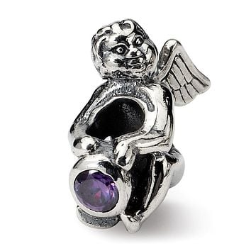 Sterling Silver February CZ Birthstone, Angel Bead Charm