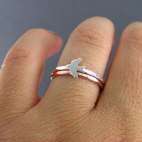 Sterling Silver Sparrow Stack Ring And One Rose Gold Filled Stack Band, Set Of 2 Rings