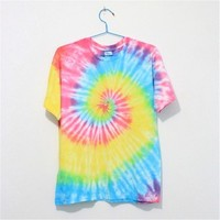 Mutilcolor Spiral Tie Dye Short Sleeve T Shirt 052833 EDP 0616