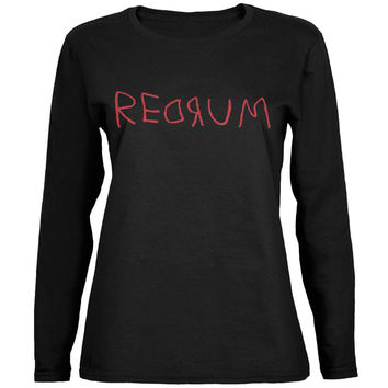 Halloween Horror Redrum Black Womens Long Sleeve T-Shirt