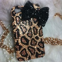 3D Handmade Bling Diamond crystal pearl iphone 4 4S case cover leopard Bow  /-