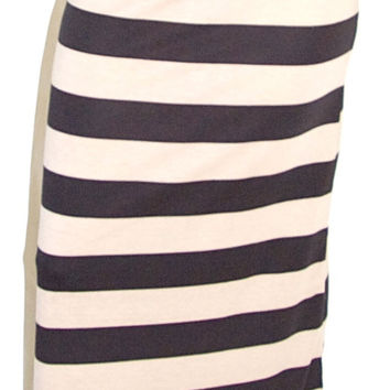 Black & Taupe Striped Maxi Skirt