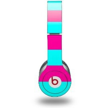 WraptorSkinz Kearas Psycho Stripes Skin for Beats Solo HD Headphones (Headphones not included), Neon Teal/Hot Pink