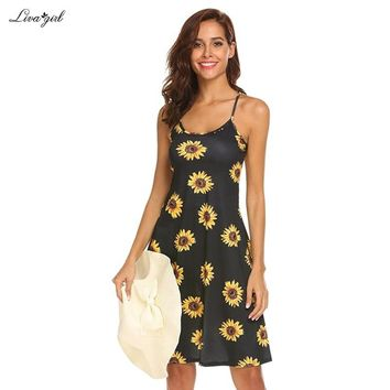 232e8b979a9b Sleeveless Floral Mini Beach Dresses sundress Sexy O Neck Backless dress  Women Boho Sunflower Daisy Party