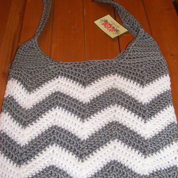 Grey Chevron Large Crocheted Handbag