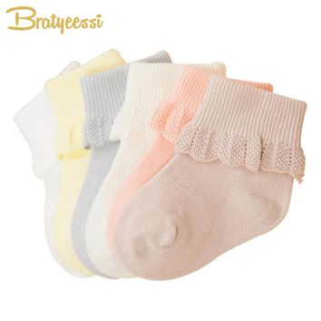 6 Pairs Lace Baby Socks for Girls Cotton Princess Newborn Socks for Toddlers Mix Colors 0-3 Years