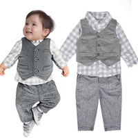 New Newborn Baby Boy Gray Waistcoat Pants Shirts Clothes Sets Suit 3PCS
