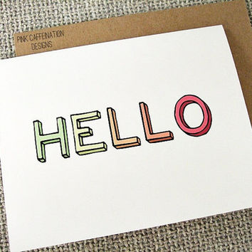 Hello Greeting Cards Set Of 6 In 3D Block From