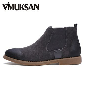 VMUKSAN Brand Chelsea Boots Men Warm Plush Winter Shoes For Men Moc Toe Fashion Boots