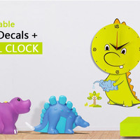 Dinosaur Mute Wall Clock with Removable Wall Decals