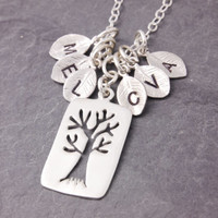 Family Necklace - tree of life, initial necklace, grandma necklace, nana necklace, family tree necklace, grandmother, mom necklace, N13