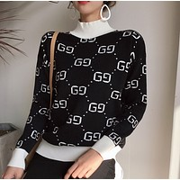 Gucci Trending Casual Women Long Sleeve Double G Pullover Sweater G