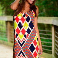 Dizzy Diamonds Dress, Red/Navy