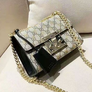 GUCCI high-end ladies retro bee small lock spell leather chain bag shoulder bag