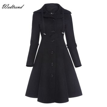 Wedtrend Black 2018 New Arrival Warm Women Dresses With Long Sleeves Buttons High Quality Office Lady Style Dress New Cheap Gown