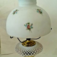 Vintage Fenton Pink White Opalescent Hobnail Lamp With Hand Painted Floral Shade