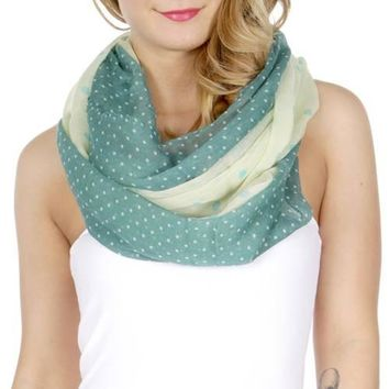 Polka Dot Womens Infinity Scarf Green