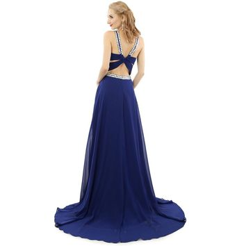 Sexy Chiffon Halter Long Evening Dress Court Train Beaded Evening Dresses