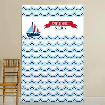 Personalized Photo Booth Backdrop - Kate's Nautical Birthday Collection - Sailboat