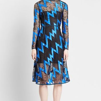 Women's Christopher Kane Zigzag Lace Fit & Flare Dress,