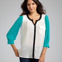 Gemma white and teal colorblock silk snap front blouse   BLUEFLY up to 70 off designer brands