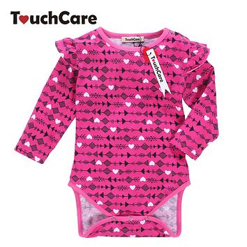 Newborn Soft Cotton Baby Boy Girl Rompers Infant Long Sleeve Arrow Printed Kids Jumpsuit Flouncing O-neck Casual Toddler Clothes