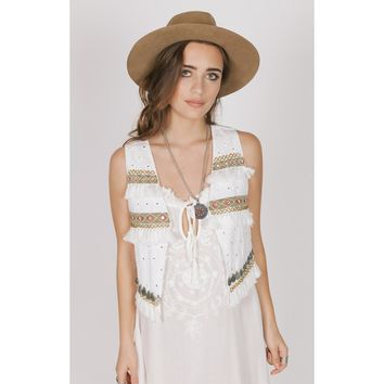 Fringe Cotton Vest Top