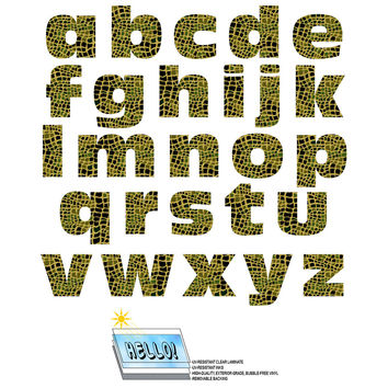 Alphabet Letters Lowercase Alligator Print Animals SLAP-STICKZ TM Laminated Wall Stickers