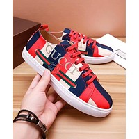GUCCI Trending Men Stylish Red/Dark Blue/Nude Matching Color Low Top Leisure Sport Shoe Lace Up Sneakers I-OMDP-GD