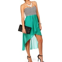 Jade Chevron Hi Lo Dress