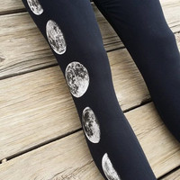 Moon Phase Black Leggings