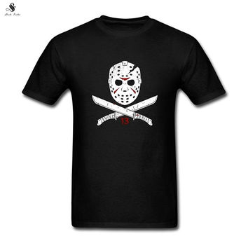 High quality Tshirts Men's Jason Voorhees of the Friday DIY Cotton Short Sleeve T Shirt New Brand Black Color