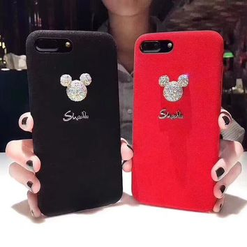 Squishy iPhone  Furry Rhinestone Mickey Mouse Phone cases For iPhone 6s Capa for iPhone 8 case For iPhone X