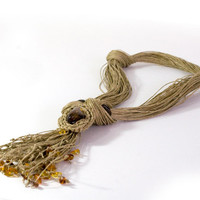 Multi-strand hemp necklace with amber