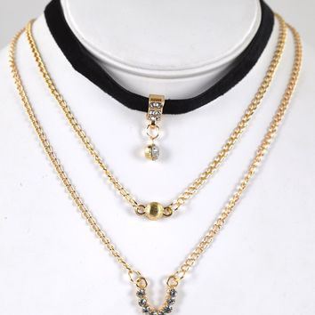 Three Layer Metal and Crystal Detailing Choker Necklace