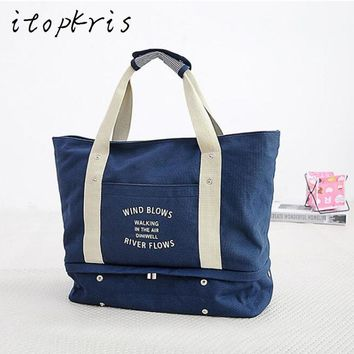Itopkris Women Folding Travel Bags Portable Handing Luggage Duffle Business Organizer Cloths Beach Handbag Carrying Shoulder Bag