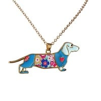 New Dachshund Necklace Blue Rose