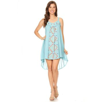 Blue Tribal Pattern Embroidered High Low Dress