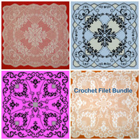 Crochet Filet Pattern Bundle Doily Square Tablecloth Chart PDF Instant download Niatta
