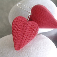 Valentine red polymer clay heart earrings, modern dangle earrings, Valentine earrings jewelry, love, line, stripe textured, sterling silver,