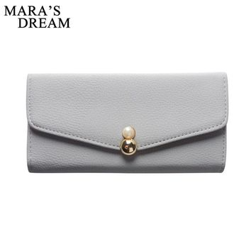 Mara's Dream Trifold Cute PU Leather Long Women Wallet Girls Change Clasp Purse Female Money Coin Card Holders Wallets Carteras
