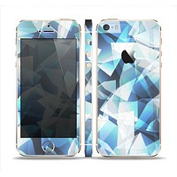 The Abstract Blue Overlay Shapes Skin Set for the Apple iPhone 5s