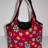 Sunny Daisies Multicolored on Red Mini Sac Shopping Craft Gathering Tote